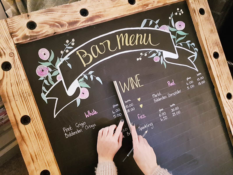 design of wedding bar blackboard