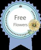 Badge, free flowers