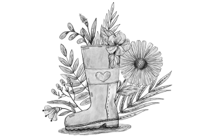 flower sketch in wellington boot