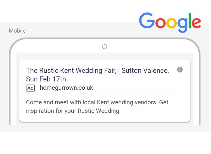 Google ads Rustic Kent Wedding Fair