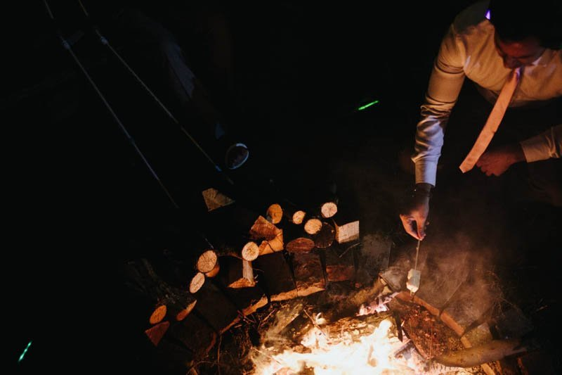 toasting marshmallows over a real fire