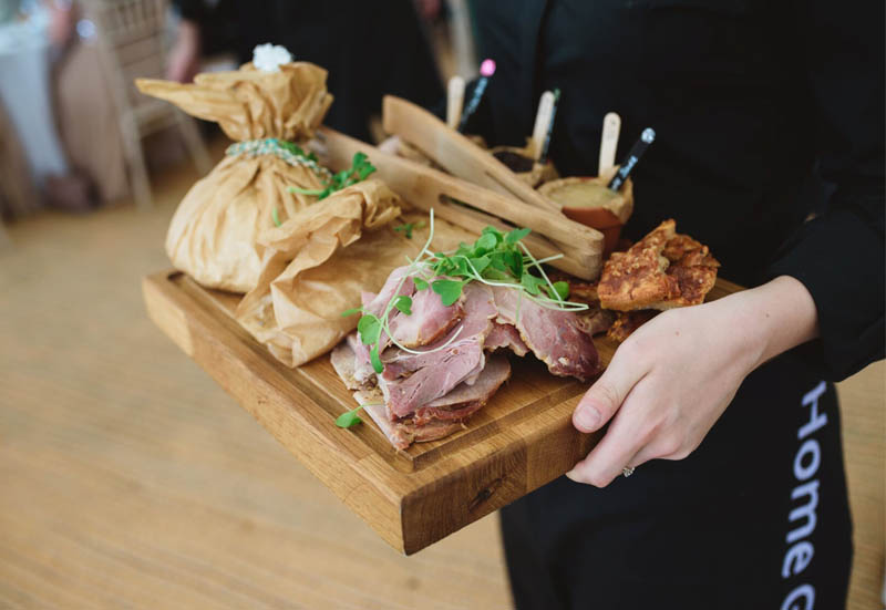 trio of pork served at a wedding