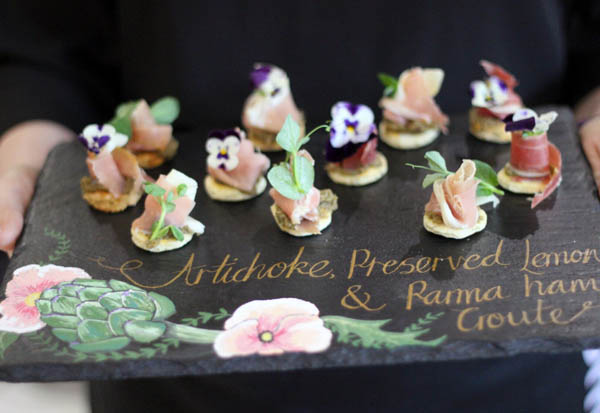 wedding canapes - artichoke preserved lemon and parma ham croute