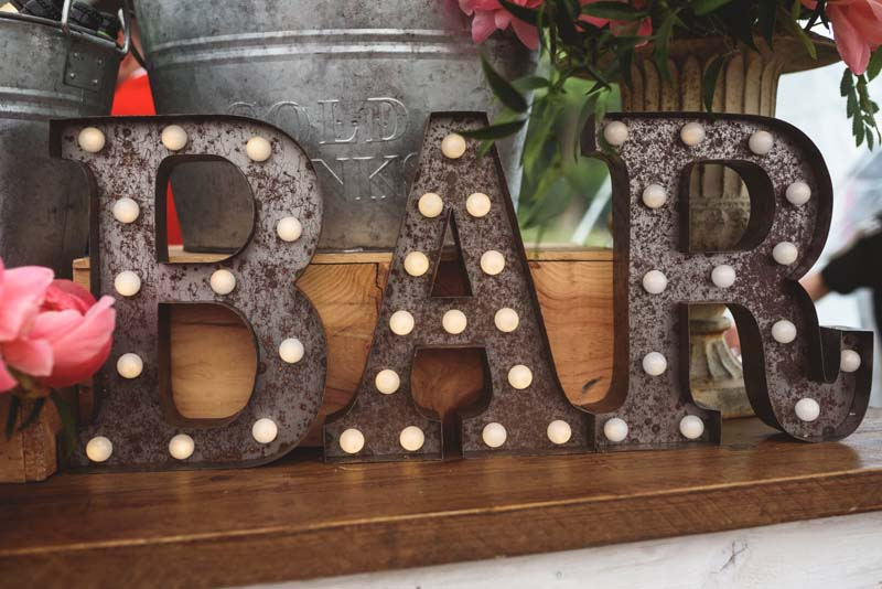 wedding bar light up letters