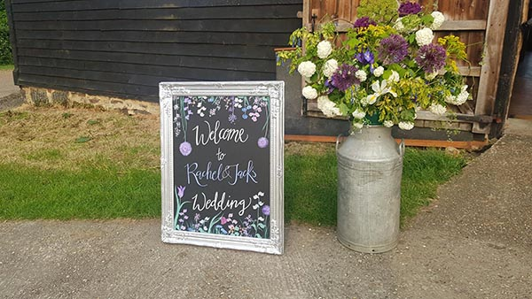 Wedding Signage at The Great Barn Rolvenden in Kent