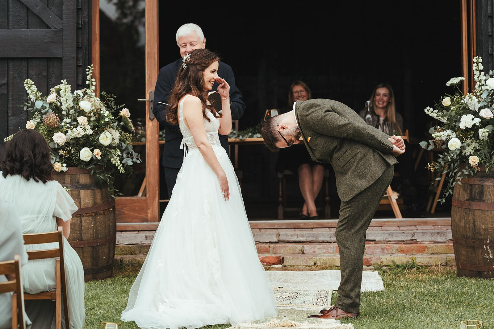 wedding couple at Elmney Nature Reserve